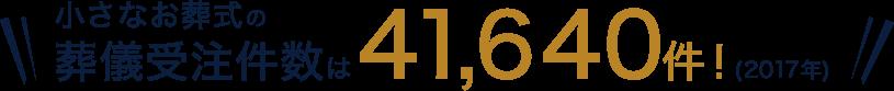 小さなお葬式の葬儀受注件数は41,640件!(2017年)