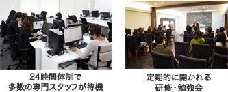 24時間体制で多数の専門スタッフが待機、定期的に開かれる研修・勉強会