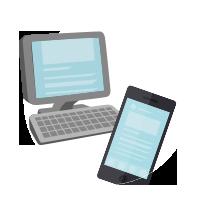 パソコンとスマートフォンのイラスト