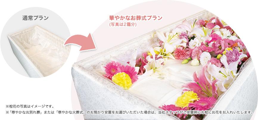 通常のお葬式プランと華やかなお葬式プランの違い ※「華やかなお別れ葬」または「華やかな火葬式」のお預かり安置をお選びいただいた場合は、当社スタッフがご安置時にお棺にお花をお入れいたします。