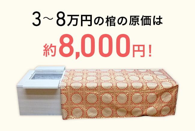 3~8万円の棺の原価は8,000円!